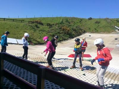 Learning to balance on the dry ski slope